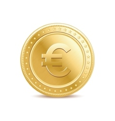golden isolated euro coin on white background vector image