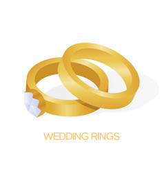 golden wedding couple ring with big shiny diamond vector image