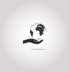 hand and globe icon save earth symbol vector image