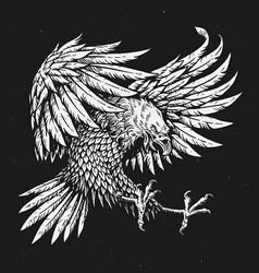 Hand drawn bold linework swooping tattoo eagle vector