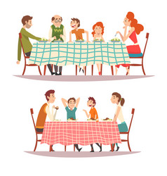happy families sitting at kitchen table with vector image
