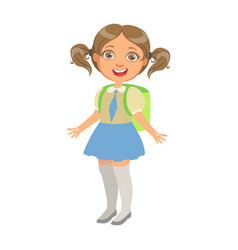 Happy sweet little schoolgirl carrying green vector