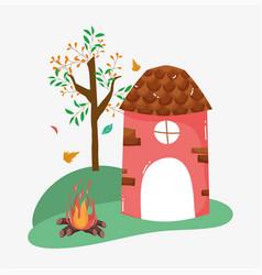 hello autumn season mill bonfire tree cartoon vector image