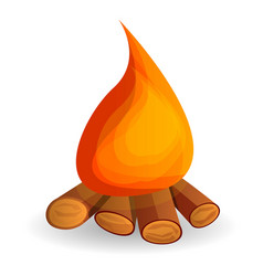 hot campfire icon cartoon style vector image
