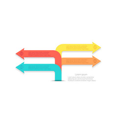 Infographic bent arrows pointing directions vector