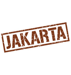 Jakarta brown square stamp vector