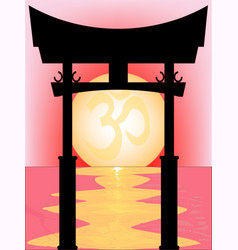 japanese tori gate sunset vector image