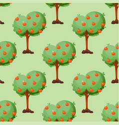 leaves cartoon green trees seamless pattern vector image