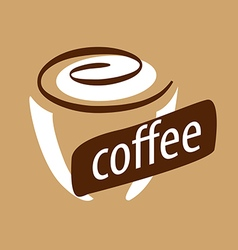 Logo cup of coffee and cream vector