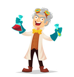 Mad professor in lab coat and rubber gloves vector