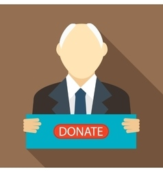 Man with a sign to donate icon flat style vector image