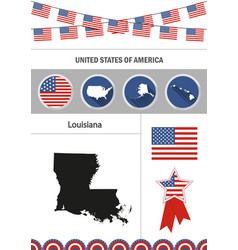 Map of louisiana set of flat design icons vector