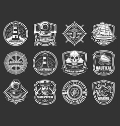 Marine adventure ocean spirit nautical icons vector