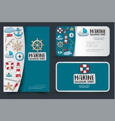 Marine nautical travel corporate identity design vector