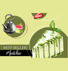Matcha sweet frame design with kettle crepe cake vector