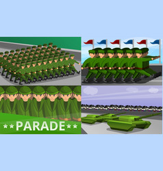 Military parade banner set cartoon style vector