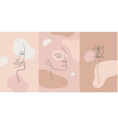 Minimalist style portrait line flower vector