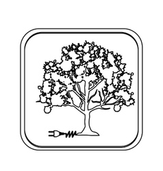 Monochrome square with tree with power cord vector