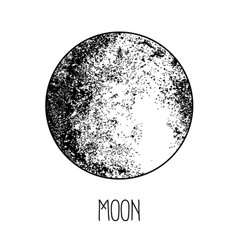 Moon engraving style vintage elegant science art vector