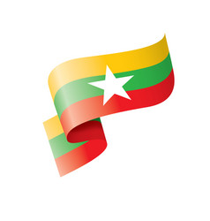 Myanmar flag on a white vector