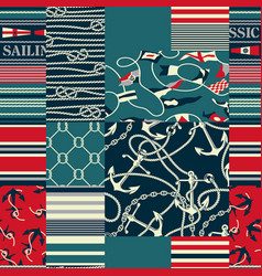 nautical and marina elements patchwork wallpaper vector image