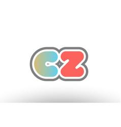 Orange pastel blue alphabet letter cz c z logo vector