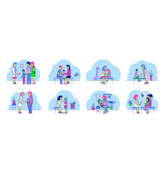 Pediatrician doctor with kids and mother on vector