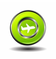 Plane icon button green glossy vector