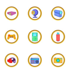 Portable gadget icons set cartoon style vector