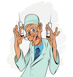 Portrait medic with syringes vector