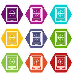 radar icon set color hexahedron vector image