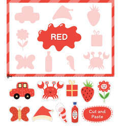 Red color cut elements and match them with vector