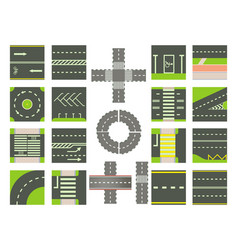 roads icon set cartoon style vector image