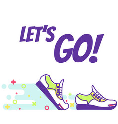 Running sneakers line art text lets go vector