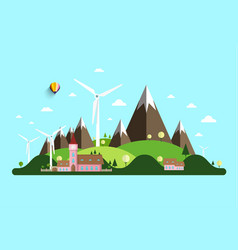 rural landscape with windmills hills and castle vector image
