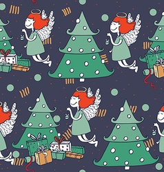 Seamless christmas pattern with hand drawn flying vector