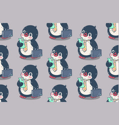 Seamless pattern with cute penguins vector