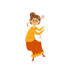 Senior woman listening to music and dancing vector