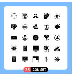 Set 25 solid glyphs on grid for aspiration vector