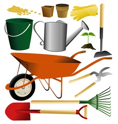 Set garden tools vector