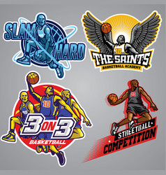 Set of basketball badge collection vector