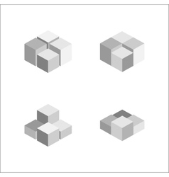 set of geometric cube Fashion graphic design vector image