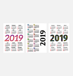 set of three 2019 calendars isolated vector image