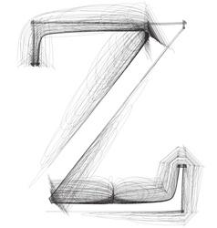 Sketch font Letter Z vector