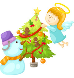 snowman with angel tree christmas vector image