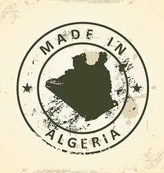 Stamp with map of Algeria vector image