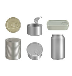 steel cans canned beverages packages for products vector image