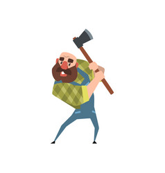strong bearded woodcutter working with axe funny vector image