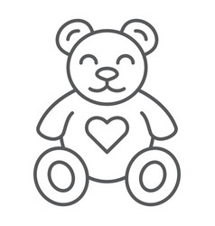 teddy bear thin line icon animal and child plush vector image