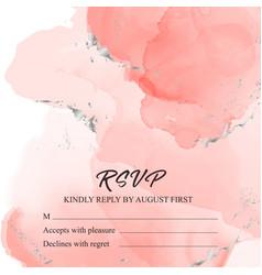 tender pink save date rsvp card wedding vector image